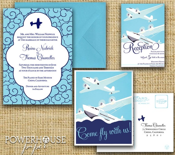 Clouds and Airplanes Wedding Invitation