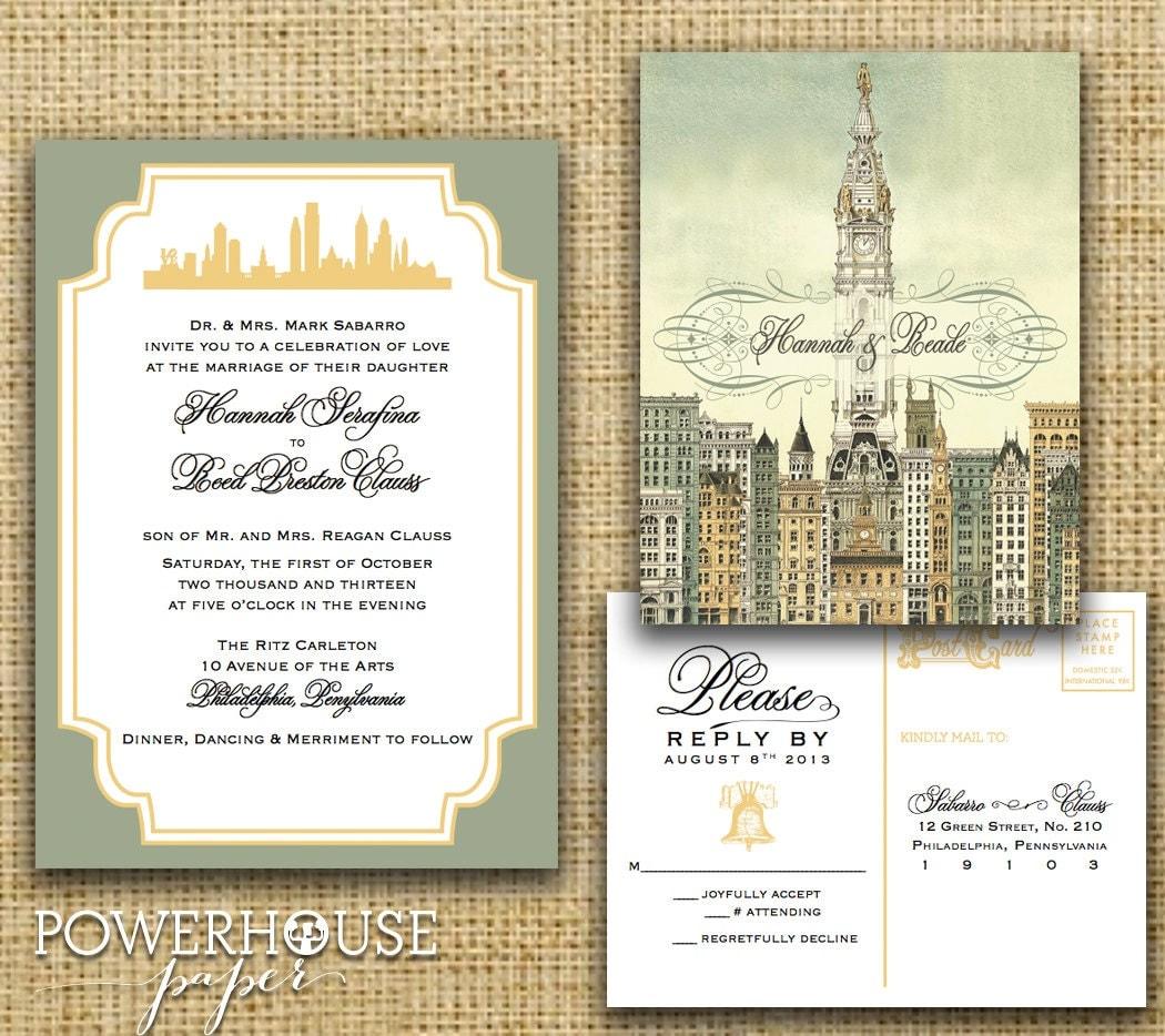 Philadelphia city hall wedding invitation optional pocket zoom stopboris Choice Image