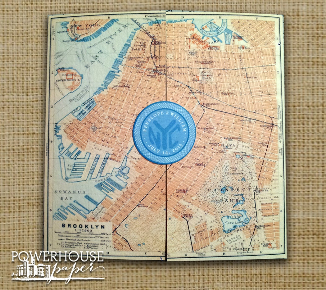 Wedding Invitations With Maps: Brooklyn Antique Map Wedding Invitation