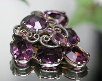 Dress Clip - Vintage Silver Tone and Purple Glass Stone Dress Clip