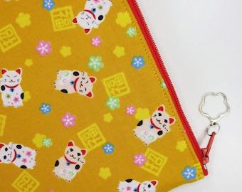 Maneki-neko iPad mini Case/ Zipper Pouch - Mustard Yellow