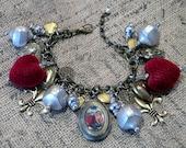 Valentine Locket Charm Bracelet titled Victorian Velvet