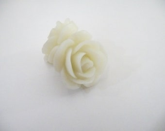 White Rose/Flower Copper Post Earrings
