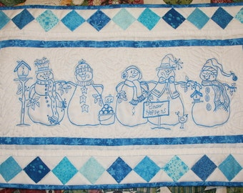 Snowmen Quilted Wall Hanging