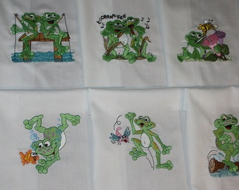 Frolicing Frogs Machine Embroidered Quilt Blocks Set A