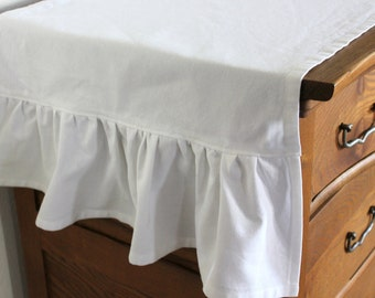 White Ruffled Cotton Table Runner - Select Your Length