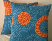 Blue & Orange Mandalas Pillow Cover 18x18