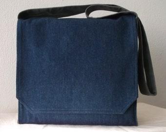 Blue Denim Large Messenger Bag