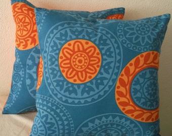Blue & Orange Mandalas Pillow Cover 18x18