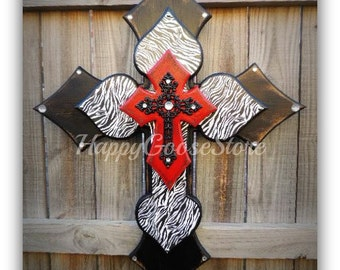 Wall CROSS - Wood Cross - X-Large - Antiqued Black & Red with Zebra, and black iron cross