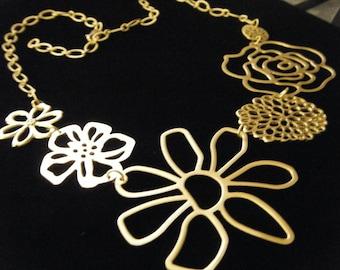 Matte Gold Openwork Flowers of Rose Daisy Poppy Chrysanthemum Statement Bib Necklace