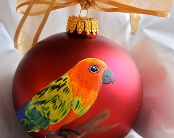 Sun Conure Sun Parakeet Bird Hand Painted Christmas Ornament - Can Be Personalized with Name