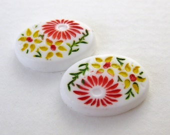 Vintage Flower Cabochon White Glass Painted Daisy Red Yellow 18x13mm gcb0720 (2)