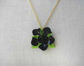 Black Rose Vintage enamel brooch necklace Small Green Gold Chain Pendant Flower Power petite Upcycled
