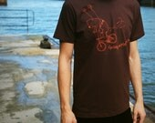 Bike Shirt Mens - Faitrade Organic cotton - Brown Tshirt S, M, L, XL  - Melancholy