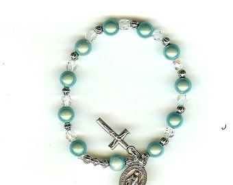 Handmade Child's or First Communion Rosary Bracelet, Stretch in NEW Miracle Beads and Clear Crystals