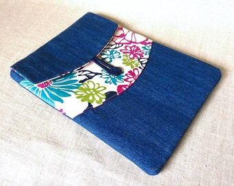 SALE ipad cover - pride and joy - denim and retro floral tablet cover - ready to ship