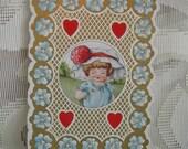 Vintage Victorian Valentine Card  - Embossed and Die Cut - late 1800's