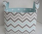 Large Aqua Mist, Gray and White Chevron Fabric Basket