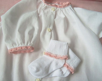 Baby daygown set with crochet edging YOU choose