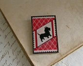 Scottie Dog Repurposed Pin Art Deco Paper Glass Jewelry