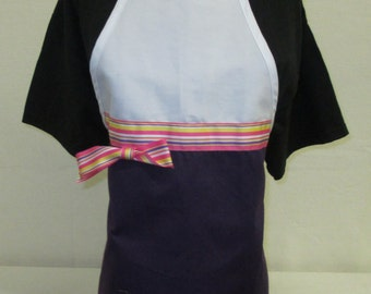 Personalized Woman's Purple Apron with Striped Ribbon