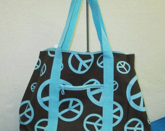 Personalized Aqua and Brown Peace Sign Oversized Tote Bag ON SALE