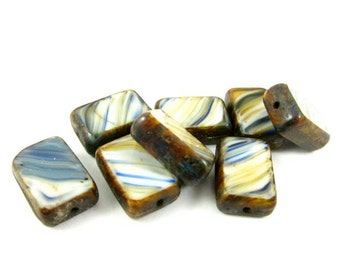 10 - Czech Pressed Glass Rectangle Window Beads - Cream with Navy and Caramel Stripes  - 12x8mm - RT2045 .