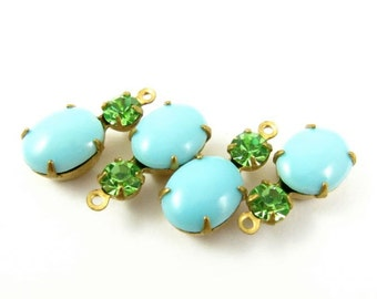 2 - Vintage Oval Round Glass Stones in 1 Ring 2 Stones Brass Prong Settings -  Turquoise & Peridot  - 18x8mm