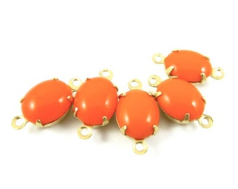 6 - Vintage Glass Oval Stones in 2 Rings Closed Back Brass Prong Settings - Opaque Tangerine Orange - 10x8mm