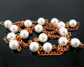 Vintage Faux Pearl Beaded Copper Chain - 2 Feet