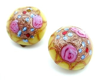 Vintage Handmade Venetian Wedding Cake Glass Earrings Yellow Pink Flower Roses