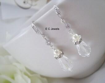 Cubic Zirconia Pearl Promise Earrings