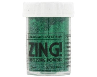 Green Glitter finish Embossing Powder, Zing Embossing Powder, 1 oz Jar, Green Embossing Powder