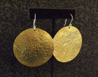 Round Hammered Metal Earrings - Brass or Copper