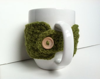 Crochet Coffee Cup Cozy - Avocado Eco Friendly Reusable Gift Under 10 Mug Warmer Mug Sweater Gift For Coffee Lovers Hot Chocolate Cup Cozy