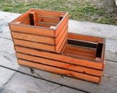 Reclaimed Wood Patio Planter - Wooden Crate Style Box - Home and Garden Decor