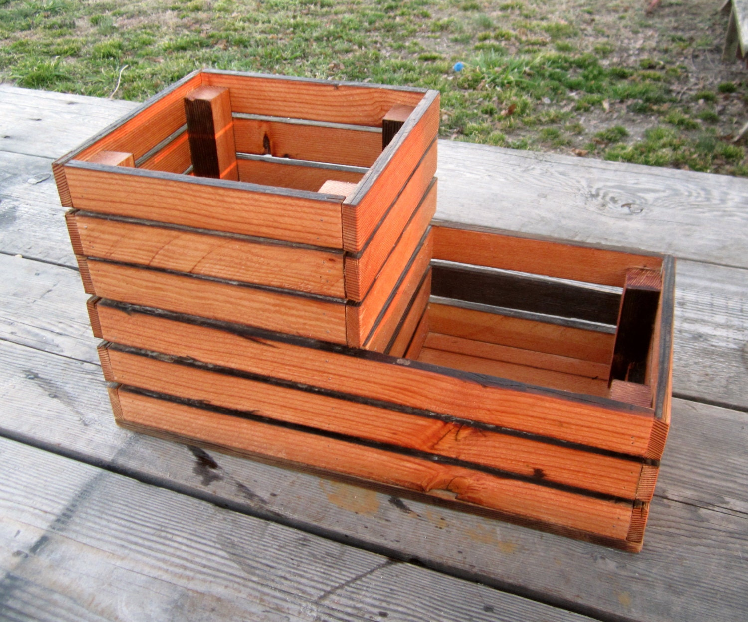 reclaimed wood patio planter wooden crate style box home. Black Bedroom Furniture Sets. Home Design Ideas
