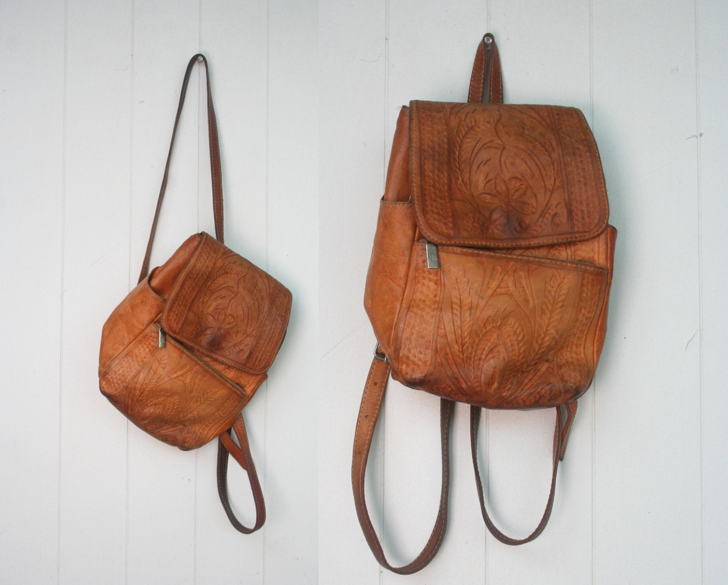 Vintage Tan Tooled Leather Mexican Small Backpack Purse
