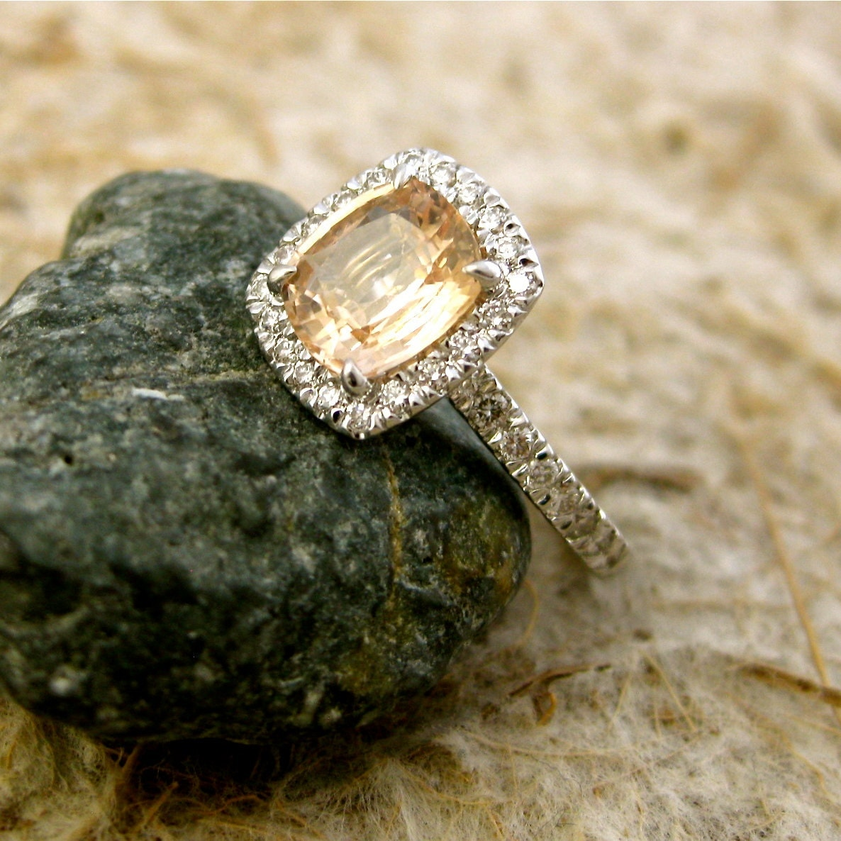 Peach champagne sapphire engagement ring with diamonds in 18k zoom junglespirit Images