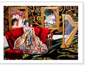 Giclee Print Still Life Music Harp Woman Sitting from Original Oil Painting Melodies of Klimt on Canvas by k Madison Moore