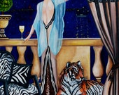 Fine Art Print, Interior Still Life, Animal, Tiger, Figurative, Terrace, Balcony, from oOriginal Oil Painting by k Madison Moore