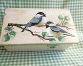 BOX hand painted with chickadees