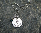 Girl personalized Birthstone Necklace with hand stamped flower with lower case font...