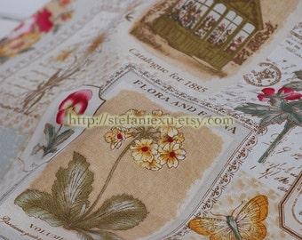 SALE Clearance 1/2 Yard(LAST Piece) Unique Linen Collection - Vintage French Style Shabby Chic Plants Flower Frame Poems (1/2 Yard)