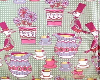 SALE CLEARANCE - 1 Yard Fairy Tale Mr. Bird's Retro Afternoon Tea Party - Cotton Fabric (1 Yard)
