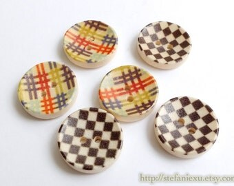 Wooden Buttons, Painted Color - Chic Round Concave Rainbow Stripe, Black and White Mosaic (4PCS, Choose Pattern)