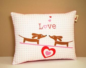 Dachshund Pillow - Teetering Doxies in Love - Dog Valentine Decor Pink White