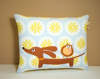 Doxie Dachshund Pillow - Doxie and Owl in the Sunny Sky Daisy Dot Garden - Dog Decor Blue Yellow