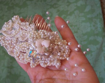 Lace leaf and pearl ivory and pink porcelain rose and crystal french twist comb